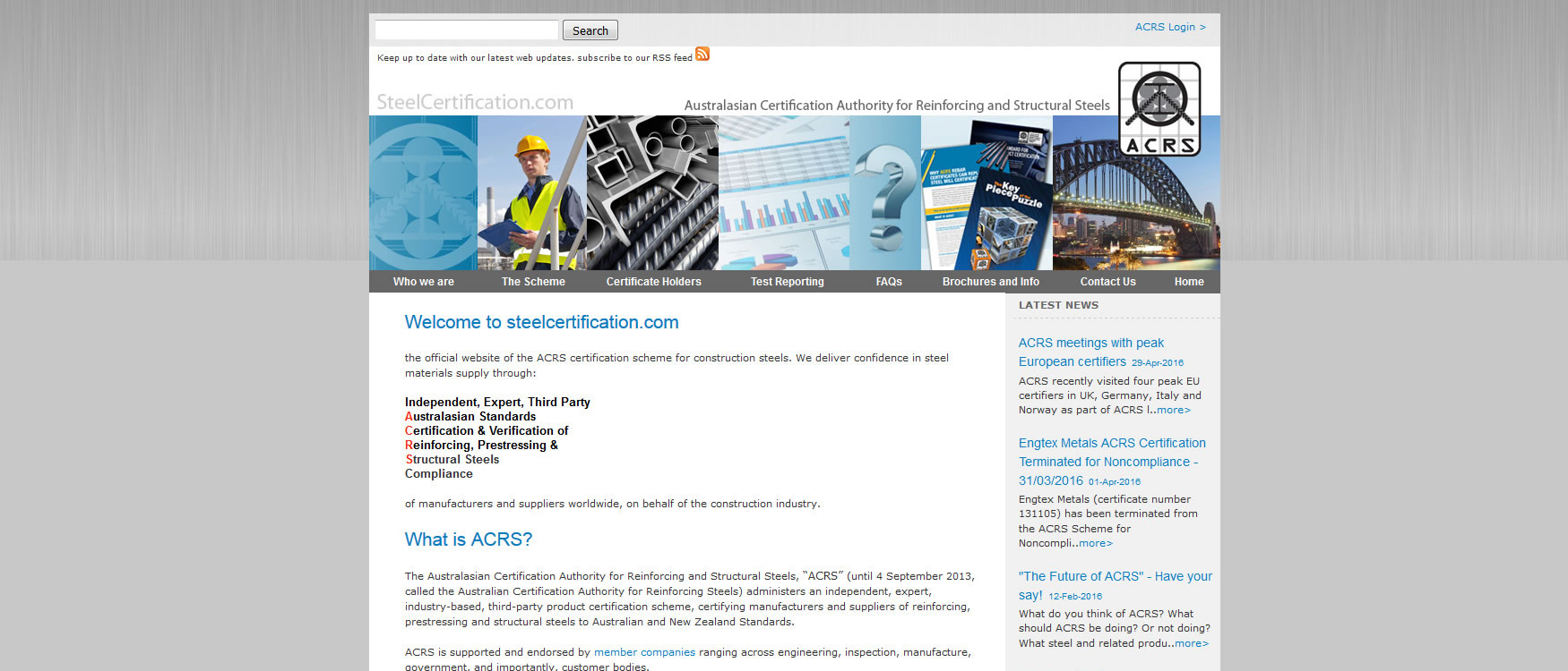 Steel certification (ACRS)